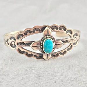Vintage Turquoise Navajo Sterling Cuff Bracelet